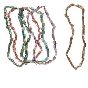 bead mix, mother-of-pearl shell (dyed) and silver-finished pewter (zinc-based alloy), mixed colors, 7x5mm-14x11mm rectangle. sold per pkg of (5) 17-inch strands.