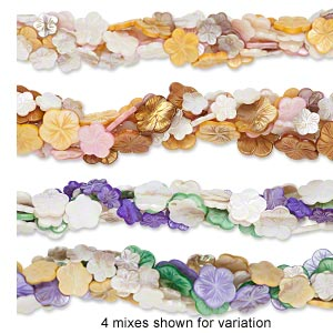 bead mix, mother-of-pearl shell (natural / bleached / dyed), mixed colors, 17x17mm-30x30mm carved flower, mohs hardness 3-1/2. sold per pkg of (5) 15-inch strands.