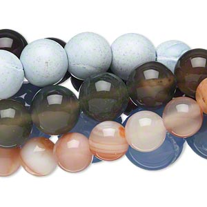 bead mix, multi-agate (natural / dyed / heated), mixed colors, 6-14mm round, mohs hardness 6-1/2 to 7. sold per pkg of (5) 15-inch strands.