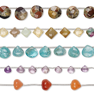 bead mix, multi-gemstone (natural / dyed / heated / irradiated / coated), mixed colors, 6x3mm-14x13mm hand-cut mixed shape, c grade, mohs hardness 3 to 7. sold per pkg of (5) 8-inch strands, approximately 15-45 beads.