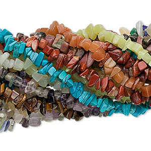 bead mix, multi-gemstone (natural / dyed / heated / man-made), multicolored, large hand-cut chip with 0.5-1.5mm hole. sold per pkg of (10) 34- to 36-inch strands.
