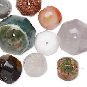 bead mix, multi-gemstone (natural / dyed / heated / manmade) and glass, mixed colors, 14-25mm corrugated round, mohs hardness 3 to 7. sold per pkg of 10.