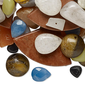 bead mix, multi-gemstone (natural / dyed / heated) and glass, mixed colors, 6x6-32x20mm top-drilled mixed shape, c grade. sold per pkg of (10) 15-inch strands.
