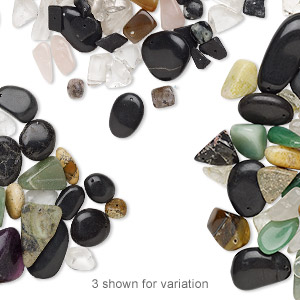 bead mix, multi-gemstone (natural / dyed / heated) and glass, multicolored, small to gigantic chip, mohs hardness 3 to 7. sold per pkg of (6) 14-inch strands, approximately 65-120 beads.