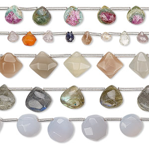 bead mix, multi-gemstone (natural / dyed / heated), mixed colors, 5x4mm-10mm hand-cut mixed shape, b grade, mohs hardness 3 to 7. sold per pkg of (5) 8-inch strands, approximately 15-45 beads.