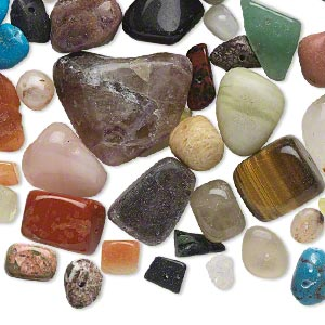bead mix, multi-gemstone (natural / dyed / manmade / imitation) and glass, mixed colors, small to large tumbled nugget. sold per 1/4 pound pkg, approximately 45 beads.