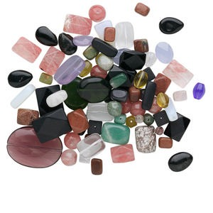 bead mix, multi-gemstone (natural / dyed / manmade) and glass, mixed colors, 5mm-50x30mm mixed shape. sold per 1/2 pound pkg, approximately 40-85 beads.