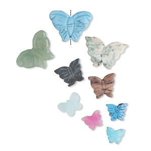 bead mix, multi-gemstone (natural / dyed / manmade), multicolored, 15-40mm butterflies and flowers, c grade. sold per pkg of 10.