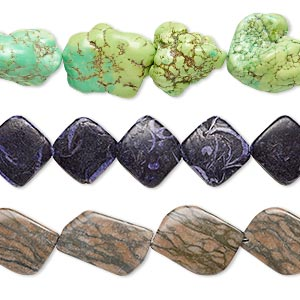 bead mix, multi-gemstone (natural / dyed / stabilized / heated) and glass, mixed colors, 26x18mm-58x38mm mixed shape, mohs hardness 3 to 7. sold per pkg of (3) 15-inch strands.