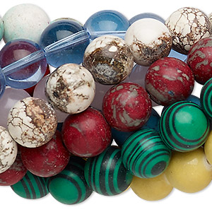 bead mix, multi-gemstone (natural / dyed / stabilized / imitation) and glass, mixed colors, 11-12mm round, mohs hardness 3 to 7. sold per pkg of (10) 7-inch strands.