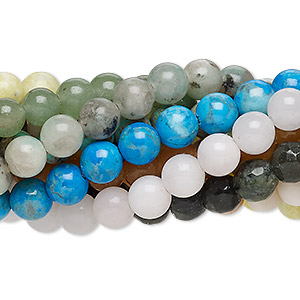 bead mix, multi-gemstone (natural / dyed / stabilized / imitation) and glass, multicolored, 5-6mm round and faceted round, mohs hardness 3 to 7. sold per pkg of (10) 7-inch strands.