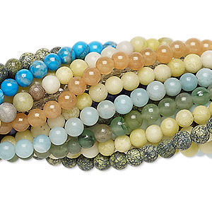 bead mix, multi-gemstone (natural / dyed / stabilized / imitation) and glass, multicolored, 3-4mm round and faceted round, mohs hardness 3 to 7. sold per pkg of (25) 7-inch strands.