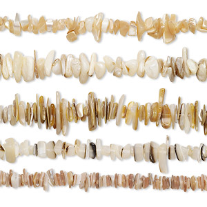 bead mix, multi-shell (natural / bleached), small to extra-large chip, mohs hardness 3-1/2. sold per pkg of (5) 14- to 16-inch strand.