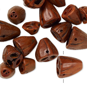 bead mix, nut (dyed), brown, 9x6mm-14x13mm. sold per pkg of 24.
