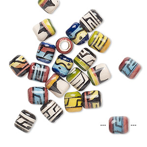 bead mix, painted ceramic, multicolored, 6x5mm round tube with geometric design, 2mm hole. sold per pkg of 20.