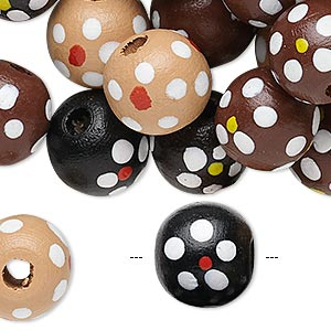 bead mix, painted wood, mixed colors, 13-14mm irregular round with flower design. sold per 400-gram pkg, approximately 700 beads.