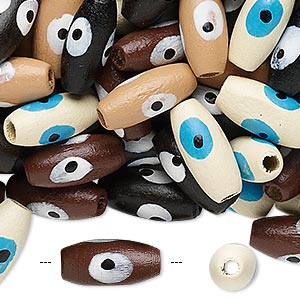bead mix, painted wood, mixed colors, 15x7mm oval with wards off the evil eye design. sold per 90-gram pkg, approximately 420 beads. minimum 2 per order.