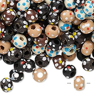 bead mix, painted wood, mixed colors, 5-6mm irregular round with flower design. sold per 90-gram pkg, approximately 1,800 beads.