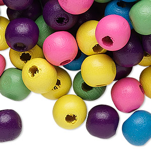 bead mix, painted wood, mixed colors, 9-10mm irregular round. sold per 400-gram pkg, approximately 1,500 beads.