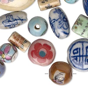 bead mix, porcelain, multicolored, 7mm-51x42mm mixed shape. sold per 1/4 pound pkg, approximately 25-70 beads.