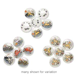 bead mix, porcelain, white and multicolored, 38-41mm double-sided puffed flat round with chinese characters and chinese zodiac decal. sold per (3) 9-inch strands.