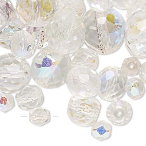 bead mix, preciosa czech fire-polished glass, clear ab and clear, 5-16mm faceted round. sold per 1/4 pound pkg, approximately 130-180 beads.