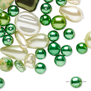 bead mix, preciosa, czech glass pearl, green and cream, 4x3mm-16mm mixed shape. sold per 50-gram pkg, approximately 75 beads.