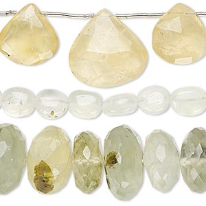 bead mix, prehnite (natural), 4x3mm-20x18mm hand-cut mixed shape, mohs hardness 6 to 6-1/2. sold per pkg of (3) 6-inch strands.