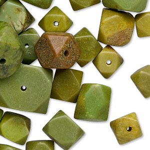 bead mix, serpentine (dyed), mini to small faceted nugget, mohs hardness 2-1/2 to 6. sold per 1/4 pound pkg, approximately 40-50 beads.