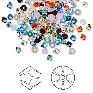 bead mix, swarovski crystals, crystal passions, mixed colors, 3mm xilion bicone (5328). sold per pkg of 48.