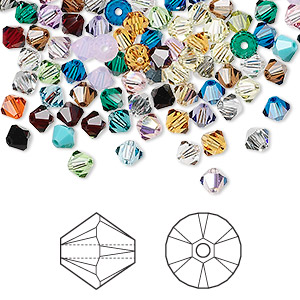 bead mix, swarovski crystals, crystal passions, mixed colors, 4mm xilion bicone (5328). sold per pkg of 144 (1 gross).