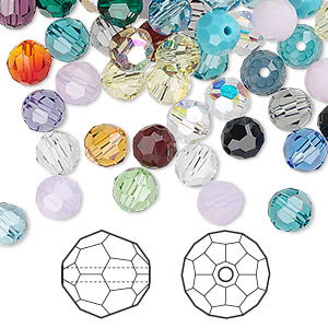 bead mix, swarovski crystals, crystal passions, mixed colors, 6mm faceted round (5000). sold per pkg of 144 (1 gross).