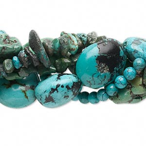 bead mix, turquoise (dyed / stabilized), 4x3mm-37x21mm mixed shape, d grade, mohs hardness 5 to 6. sold per pkg of (5) 15-inch strands.