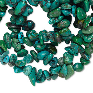 bead mix, turquoise (dyed / stabilized), blue / green / green-brown, small chip, mohs hardness 5 to 6. sold per pkg of (3) 34-inch strands.