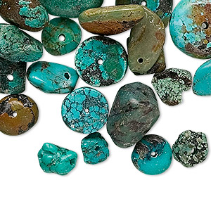 bead mix, turquoise (dyed / stabilized), blue, 5-15mm mixed shapes, d grade, mohs hardness 5 to 6. sold per 1/4 pound pkg, approximately 60-150 beads.