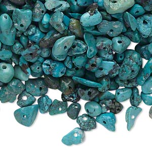 bead mix, turquoise (dyed / stabilized), blue, mini to large chip, mohs hardness 5 to 6. sold per 1/4 pound pkg, approximately 950-1,000 beads.