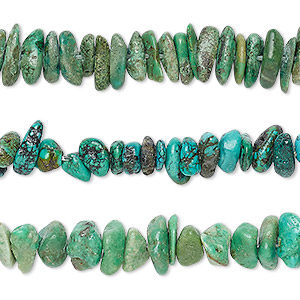 bead mix, turquoise (dyed / stabilized), green and green-brown, mini to small chip, mohs hardness 5 to 6. sold per pkg of (3) 15-inch strands.