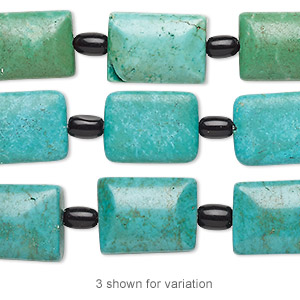 bead mix, turquoise (imitation) and glass, blue-green / kelly green / black, 6x4mm barrel and 16x12mm-17x13mm puffed rectangle. sold per pkg of 7.