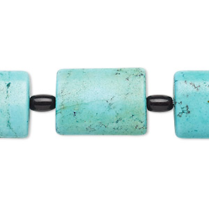 bead mix, turquoise (imitation) and glass, blue-green and black, 6x4mm-7x5mm barrel and 20x15mm-21x16mm puffed rectangle. sold per pkg of 7.