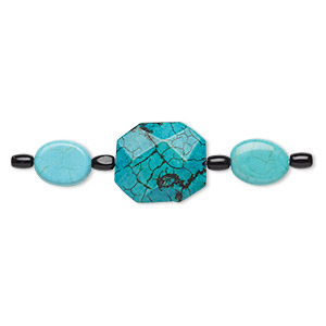 bead mix, turquoise (imitation) and glass, multicolored, 6x4mm barrel / 15x12mm-16x12mm puffed oval / 24x19mm-25x21mm faceted flat octagon. sold per pkg of 7.