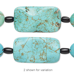 bead mix, turquoise (imitation) and glass, multicolored, 6x4mm barrel / 16x12mm-17x13mm puffed oval / 29x16mm-30x17mm wavy flat rectangle. sold per pkg of 7.