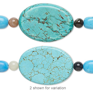 bead mix, turquoise (imitation) and multi-gemstone (natural / dyed / heated), blue / light blue / blue-green, 6mm round / small nugget / 35x25mm flat oval. sold per pkg of 7.