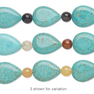 bead mix, turquoise (imitation) and multi-gemstone (natural / dyed), multicolored, 6mm round and 17x13mm-18x14mm puffed teardrop. sold per pkg of 7.
