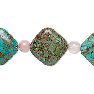 bead mix, turquoise (imitation) and rose quartz (dyed), teal green, 6mm round and 19x19mm puffed diamond. sold per pkg of 7.