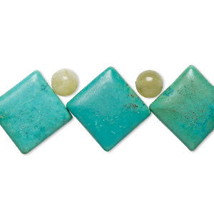 bead mix, turquoise (imitation) and serpentine (natural), teal green, 6mm round and 19x19mm top-drilled puffed diamond. sold per pkg of 11.