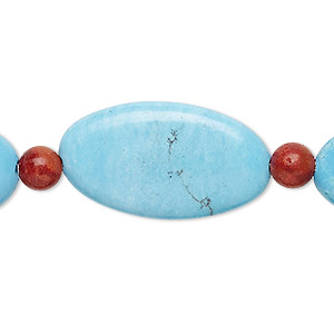bead mix, turquoise (imitation) and sponge coral (dyed), blue, 6mm round and 30x17mm puffed oval. sold per pkg of 7.