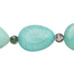 bead mix, turquoise (imitation) and tree agate (natural), blue-green, 5-6mm round and 23x17mm-26x19mm puffed teardrop. sold per pkg of 7.