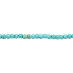 bead mix, turquoise (imitation), light blue and green, 3mm round. sold per 15-inch strand.