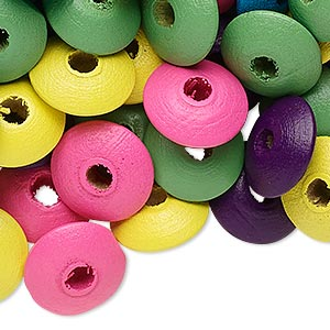 bead mix, wood, mixed colors, 14x6mm rondelle. sold per 90-gram pkg, approximately 360 beads.