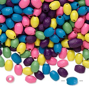 bead mix, wood, mixed colors, 5x3mm oval. sold per 400-gram pkg, approximately 45,000 beads.